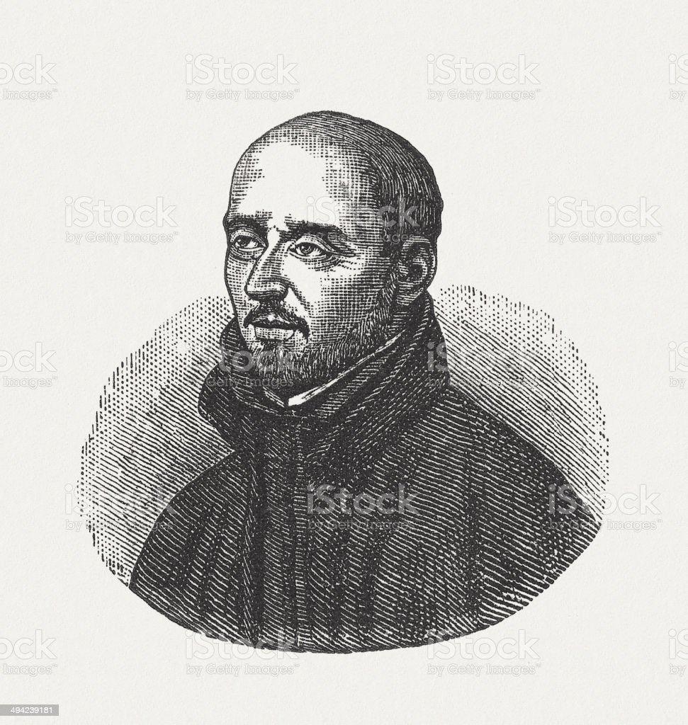 Ignatius of Loyola (1491-1556), wood engraving, published in 1881 vector art illustration