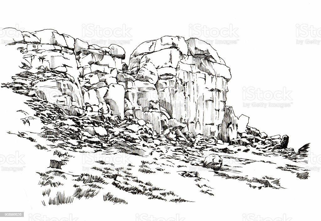 Ilkley Moor Rocks vector art illustration