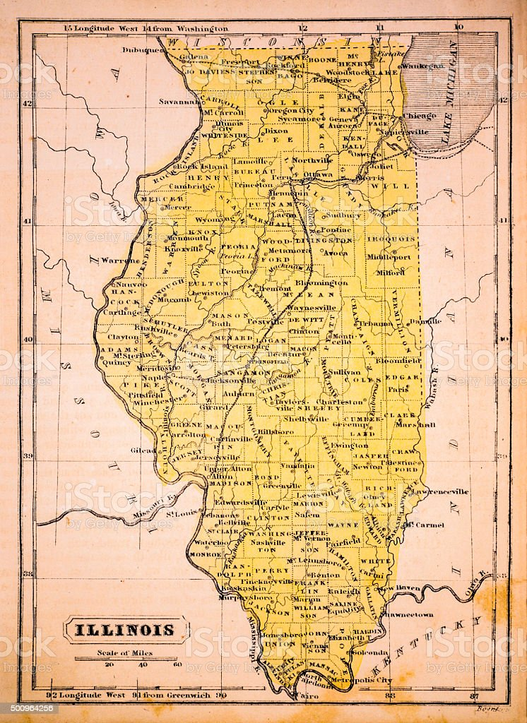 Illinois 1852 Map vector art illustration