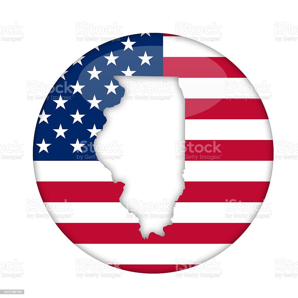 Illinois state of America badge vector art illustration