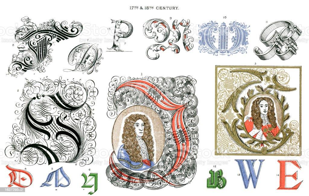 Illuminated Letters royalty-free stock vector art