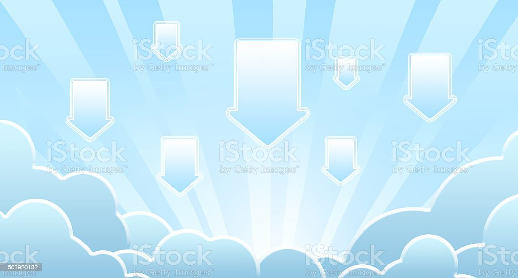 Illuminated Sky and Arrows vector art illustration