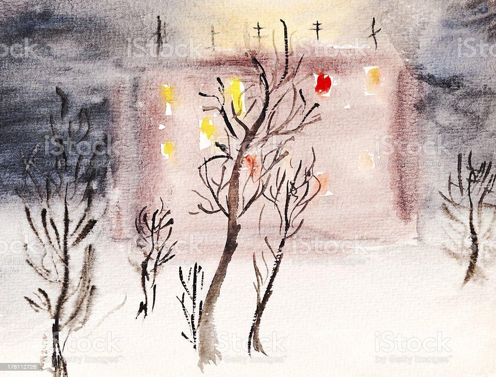 illuminated town house in winter night royalty-free stock vector art
