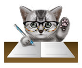 Illustrated cat wearing glasses and writing in notebook