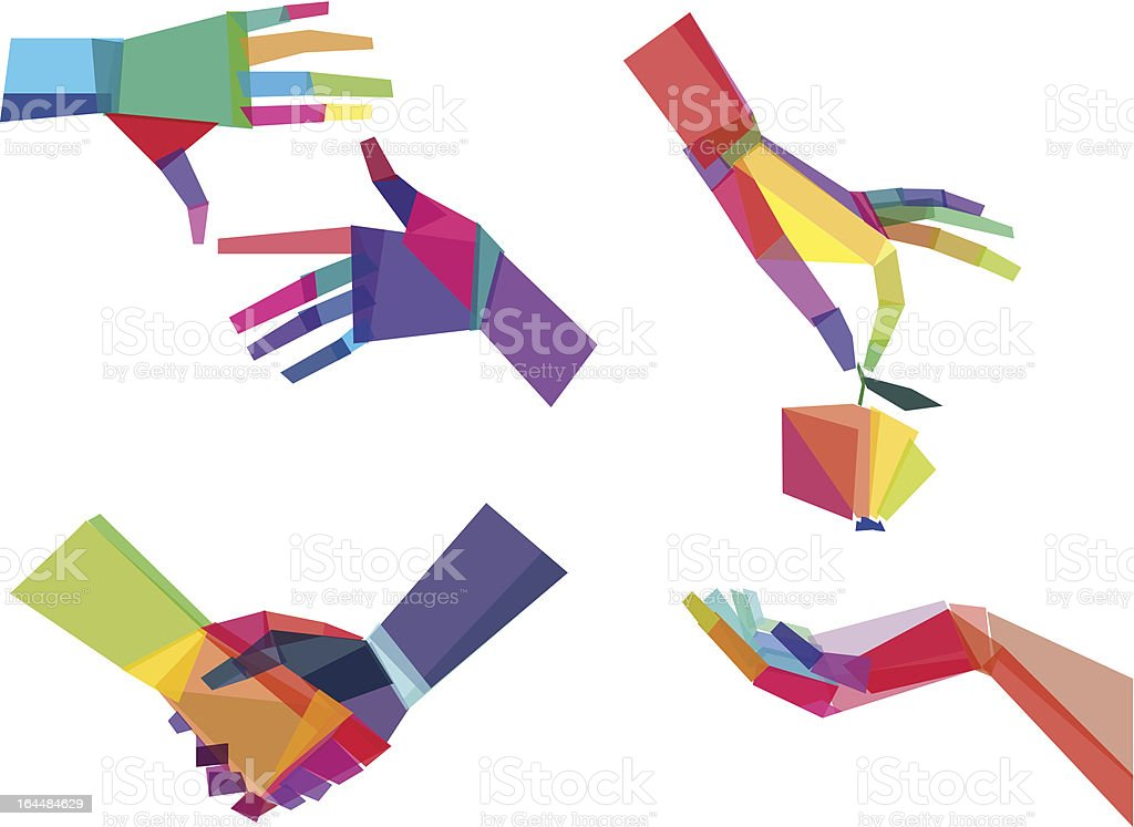 Illustrated colorful hands graphic image set vector art illustration