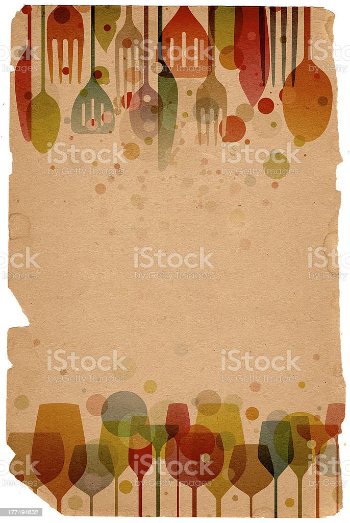Illustrated food and drink utensil background royalty-free stock vector art