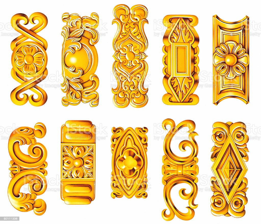 Illustrated gold scrolled ornaments royalty-free stock vector art