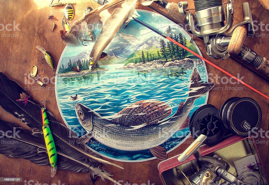 Illustration about fishing. vector art illustration