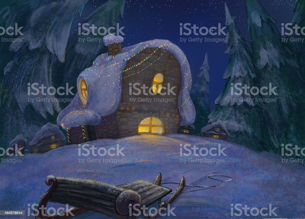 Illustration Christmas house in winter forest Camping in the snow in the woods. vector art illustration