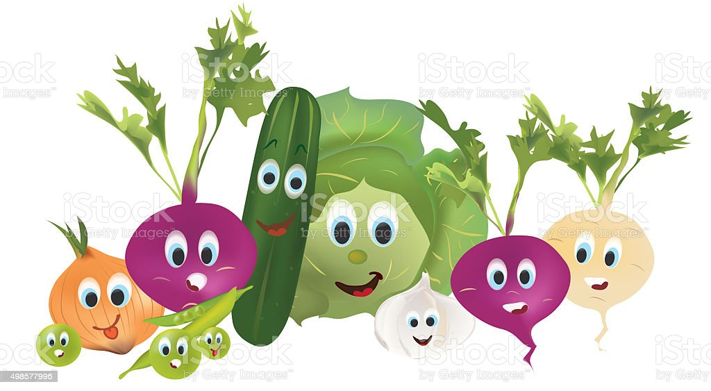 Illustration Collection of Animated Vegetables vector art illustration