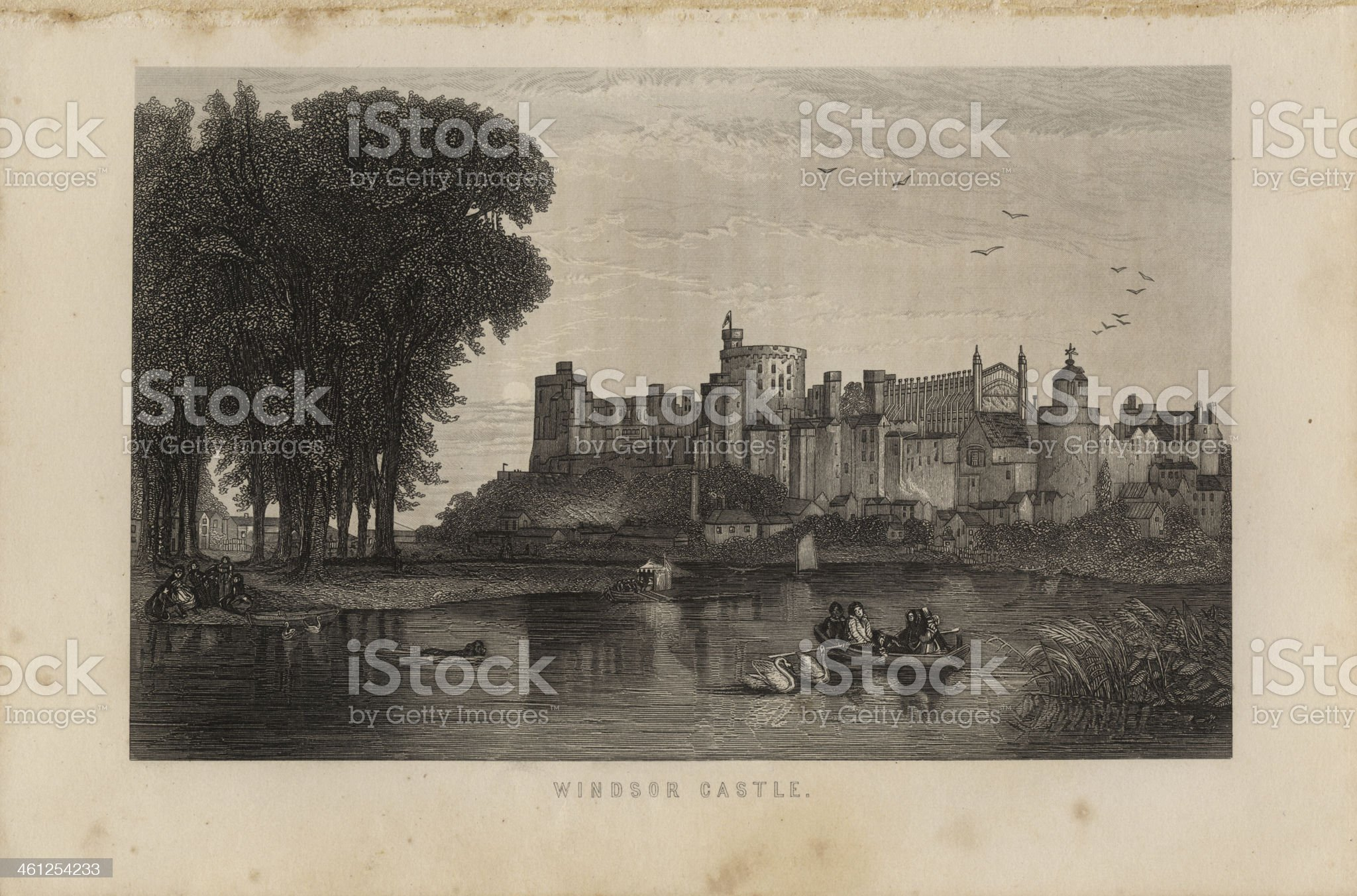 Illustration, Copyright 1875, Windsor Castle royalty-free stock vector art
