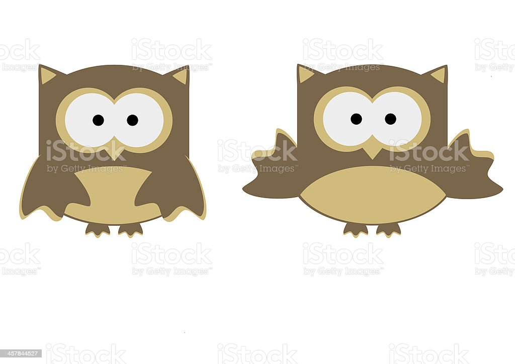 illustration cute owl cartoon isolated on white royalty-free stock vector art