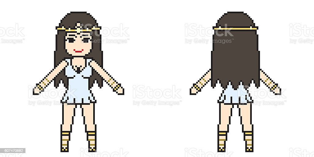 illustration design pixel art woman dress vector art illustration