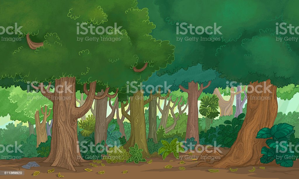 Illustration forest vector art illustration