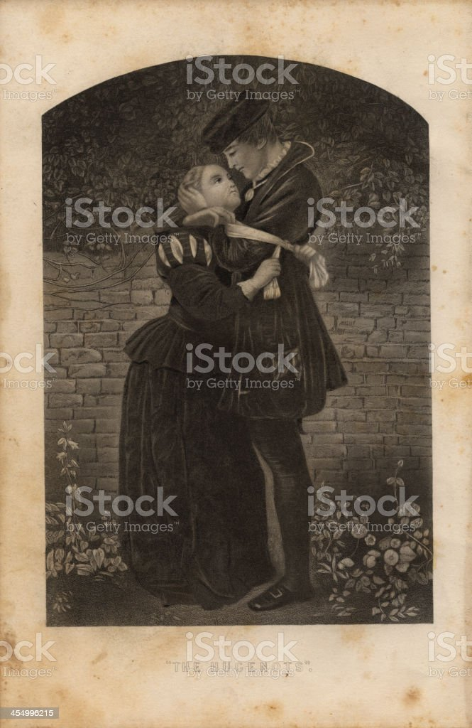 Illustration, From 1875, of Huguenot Couple Embracing royalty-free stock vector art