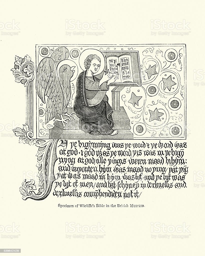 Illustration from Wycliffe's Bible vector art illustration