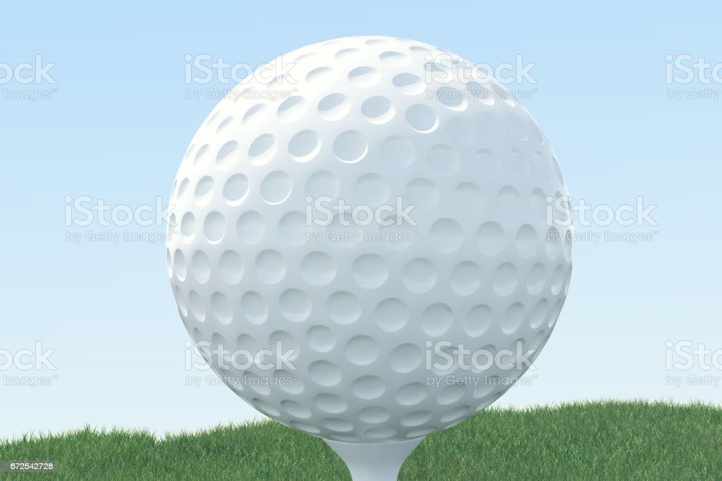 3D illustration Golf ball and ball in grass, close up view on tee ready to be shot. Golf ball on sky background. vector art illustration