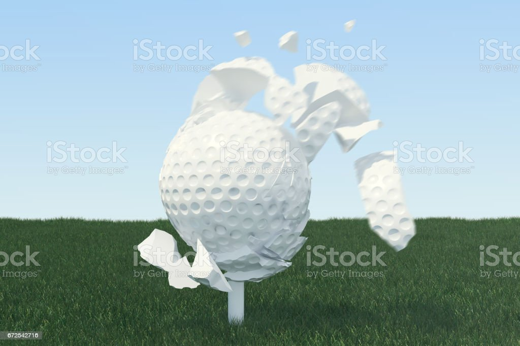 3D illustration Golf ball Scatters to pieces after a strong blow and ball in grass, close up view on tee ready to be shot. Golf ball on sky background. vector art illustration