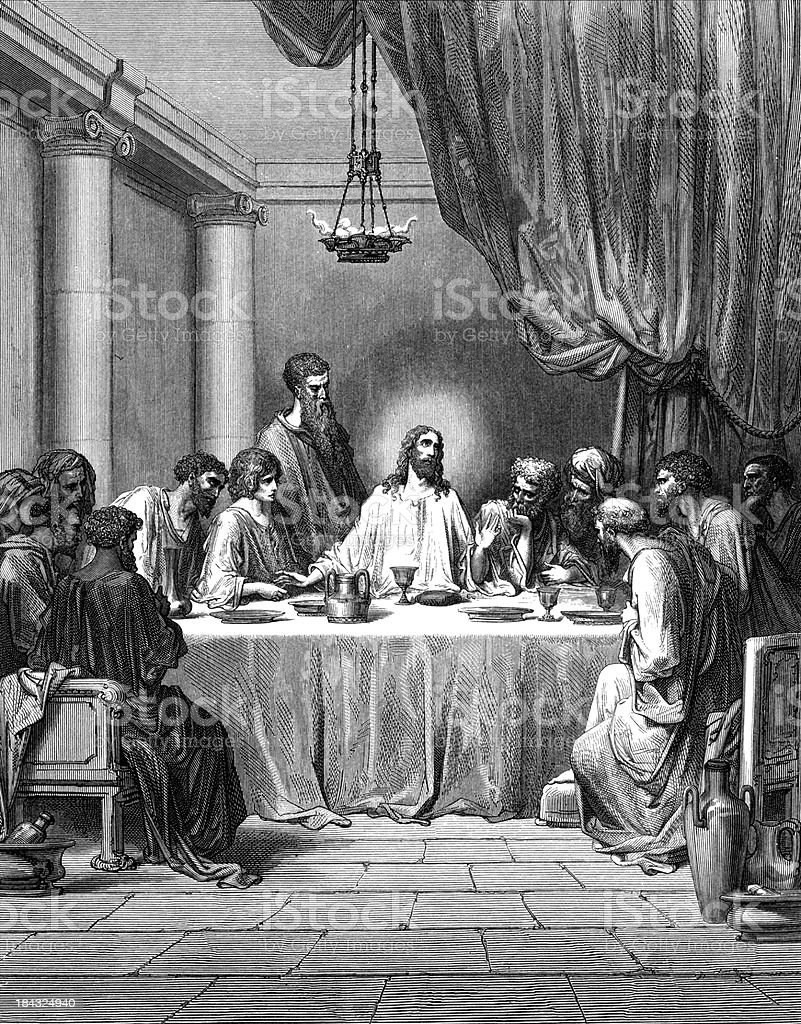 Illustration in black and white of the Last Supper royalty-free stock vector art