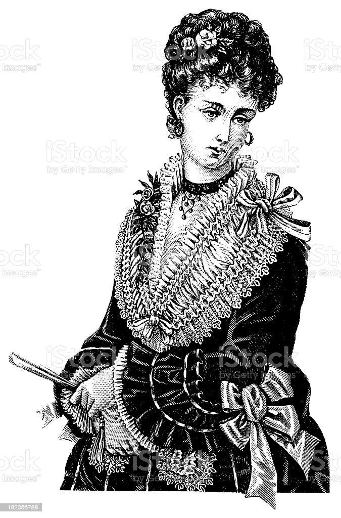 Illustration of 19th century Victorian woman royalty-free stock vector art