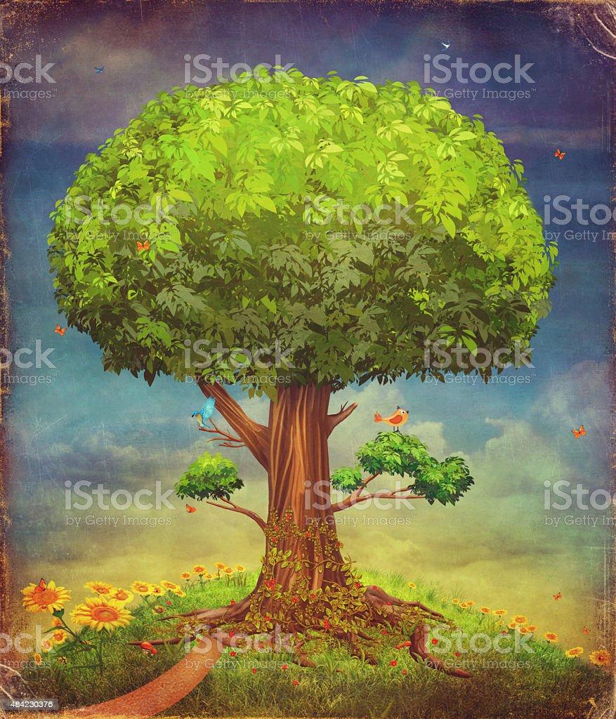 illustration of a big tree . Summer background vector art illustration