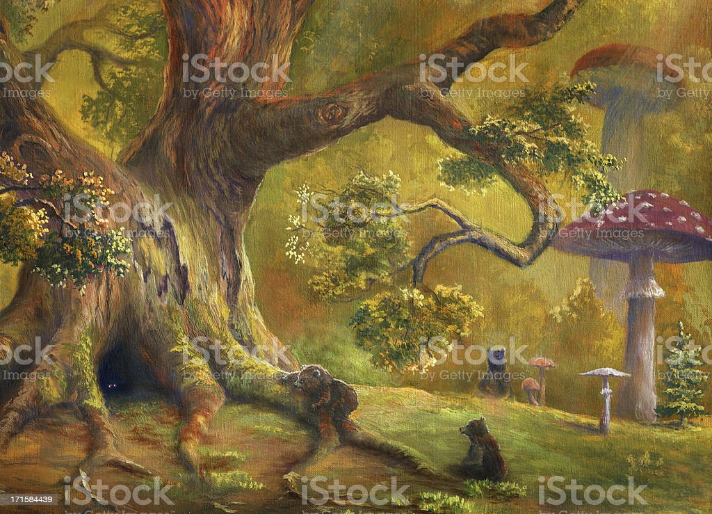 A illustration of a fairy tale forest vector art illustration
