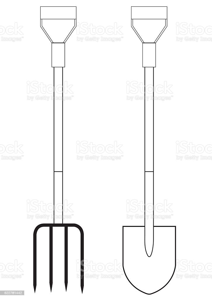 Illustration Of A Garden Pitchfork And Shovel stock vector art