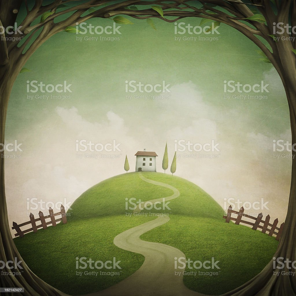 Illustration of a house on a hill with a tree border vector art illustration