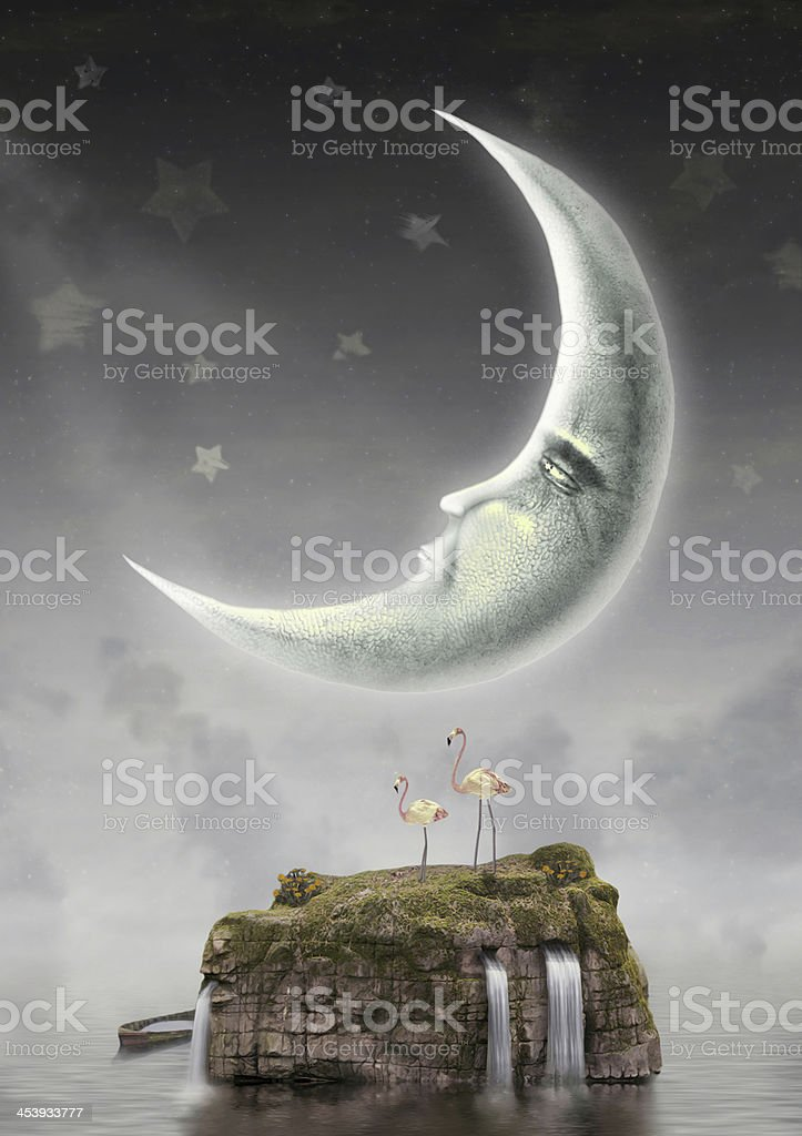 Illustration of a moon in the sky above an island vector art illustration
