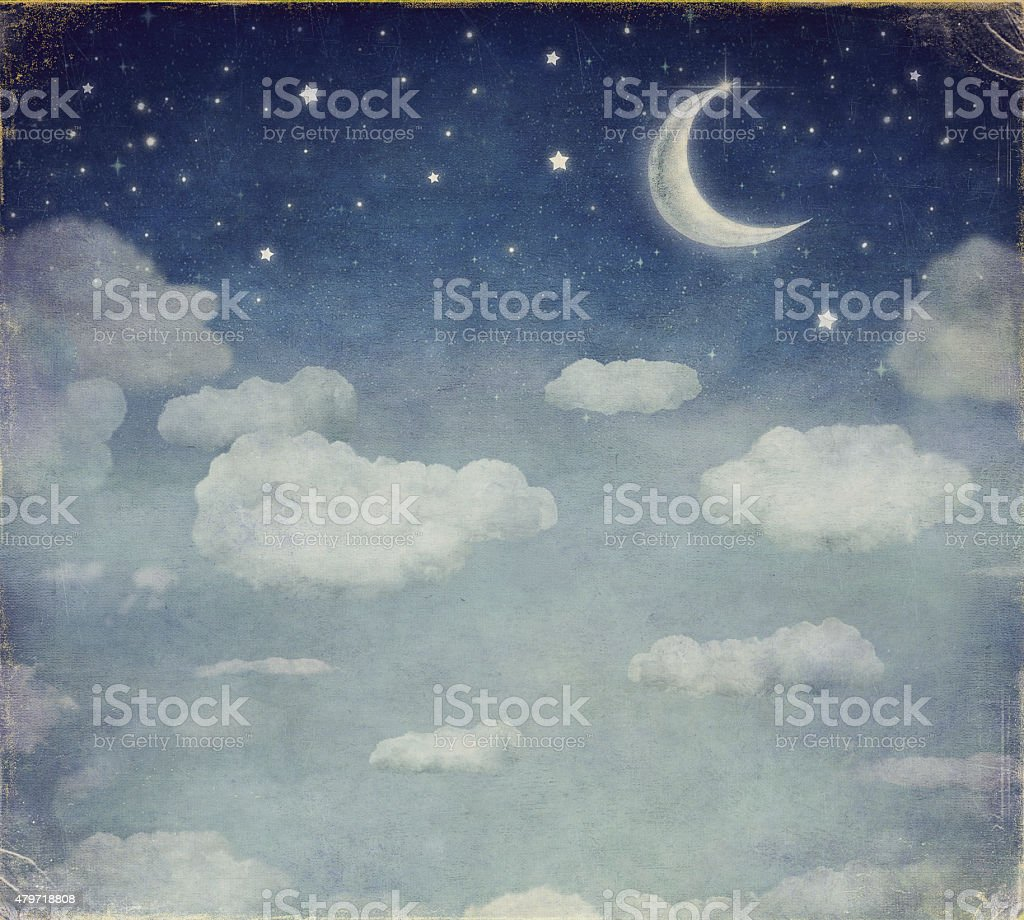 Illustration of a night sky with fantastic moon  and stars vector art illustration
