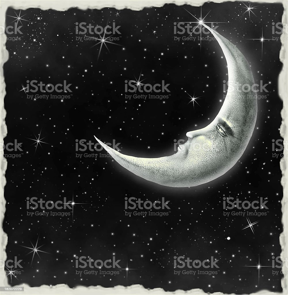 Illustration of a night sky with fantastic moon royalty-free stock vector art