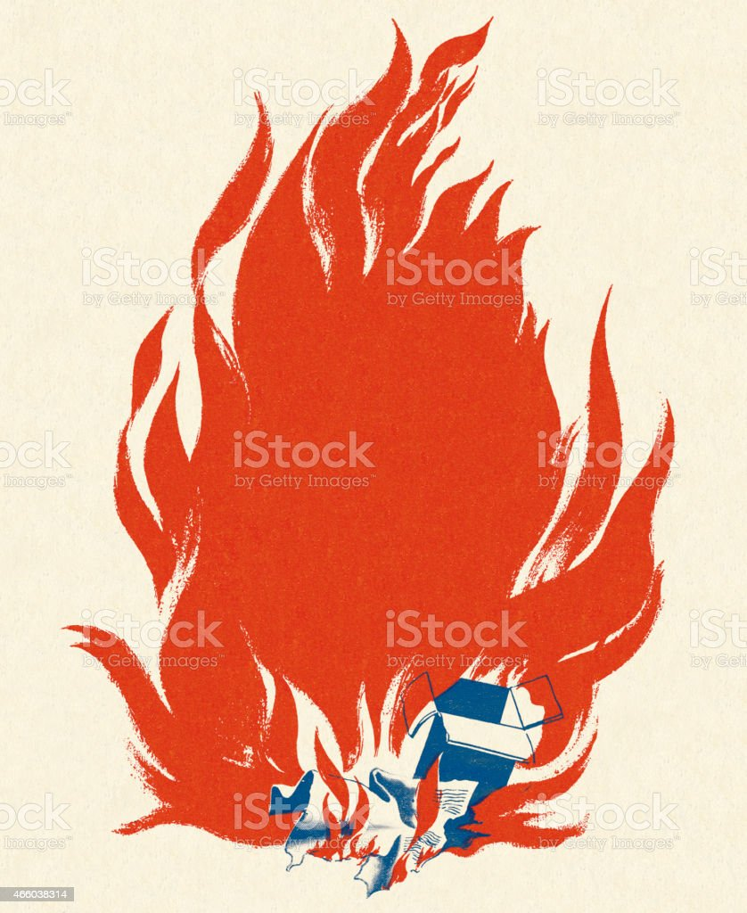 Illustration of a paper box set on fire vector art illustration