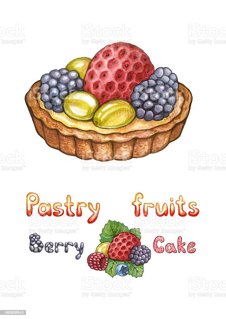 Illustration of a pastry fruits royalty-free stock vector art