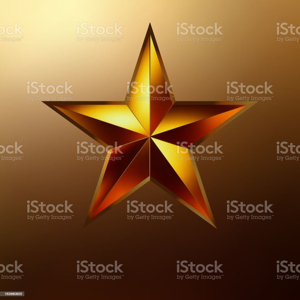 illustration of a Red star on gold. EPS 8 royalty-free stock vector art