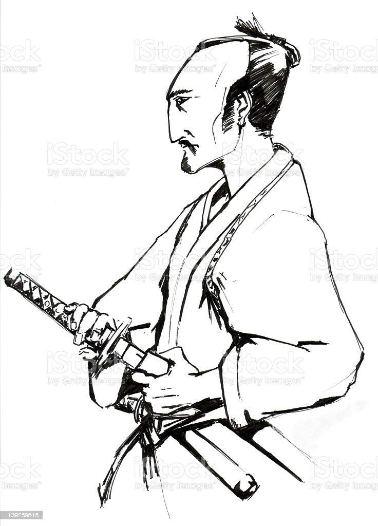 Illustration of a samurai unsheathing a katana royalty-free stock vector art