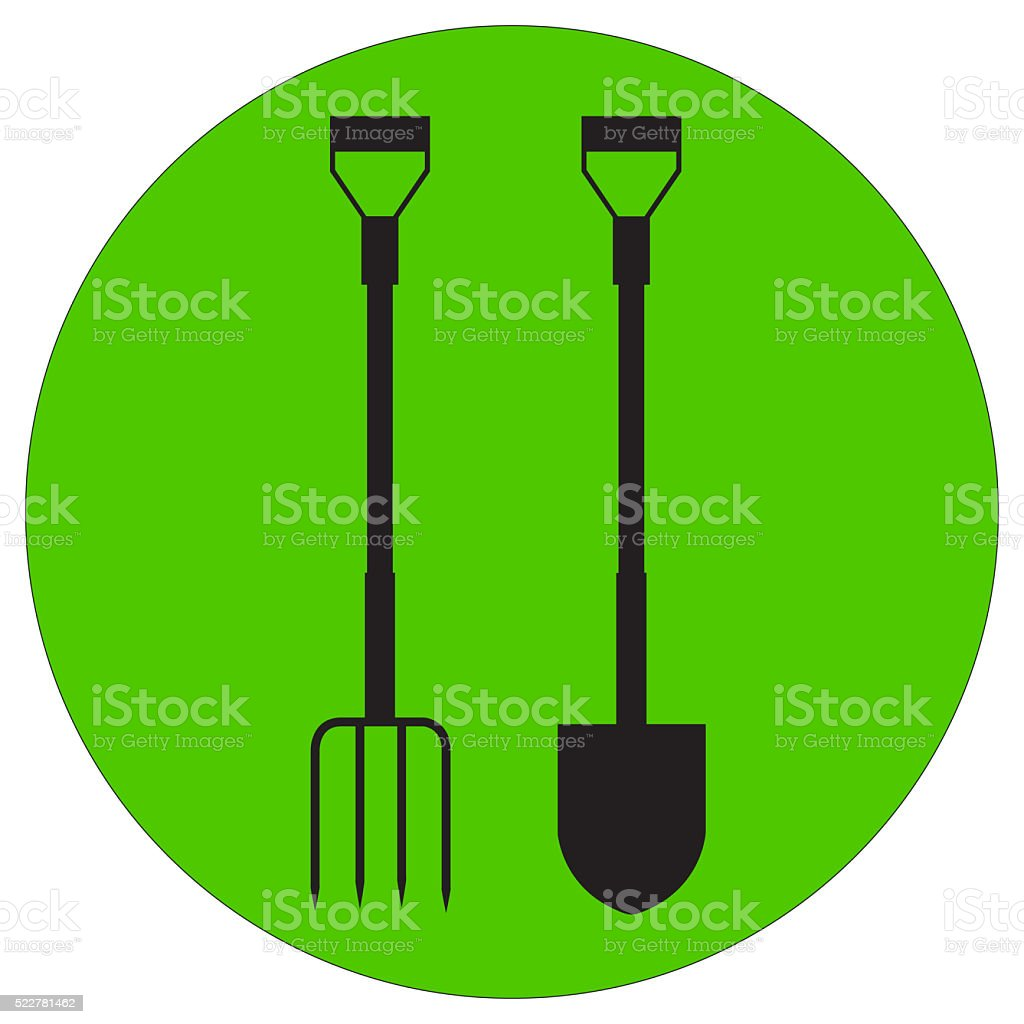 Illustration Of A Silhouette Garden Pitchfork And Shovel stock