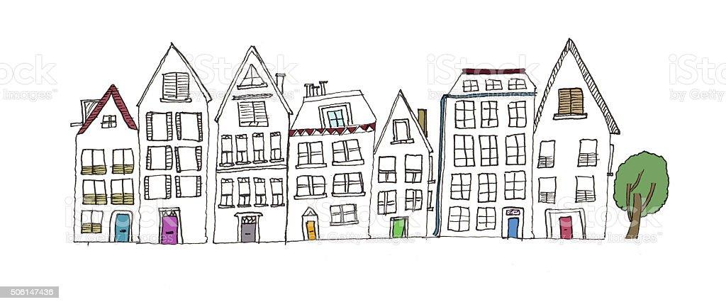 Illustration of a street of house vector art illustration