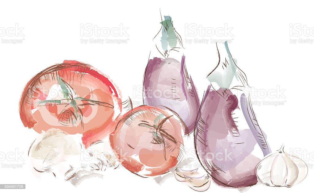 Illustration of a Watercolor Vegetables vector art illustration