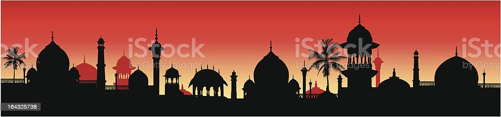 illustration of an indian architectural panorama royalty-free stock vector art
