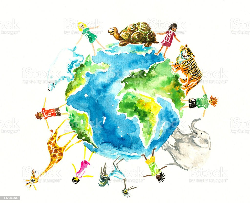 Illustration of animals and children around Earth royalty-free stock vector art
