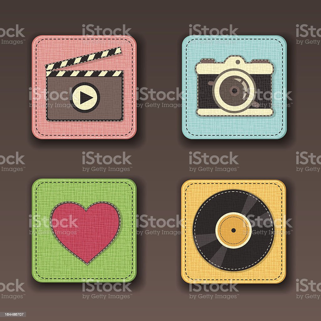 Illustration of apps icon set in textile styles royalty-free stock vector art