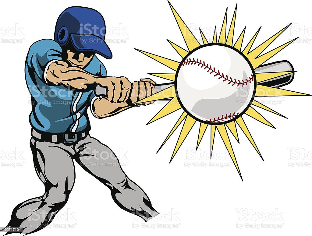 Illustration of baseball player hitting ball vector art illustration