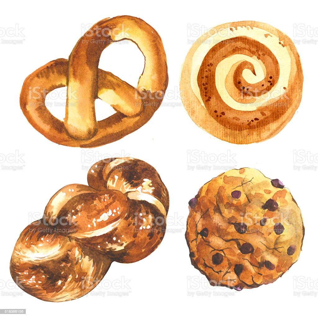 Illustration of bread and biscuits. Cinnamon roll ang american biscuit. stock photo