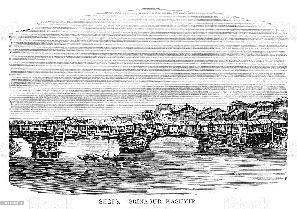Illustration Of Bridge Of Shops, Srinagar, Kashmir royalty-free stock vector art