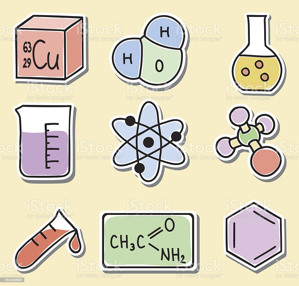 Illustration of chemistry icons - stickers royalty-free stock vector art
