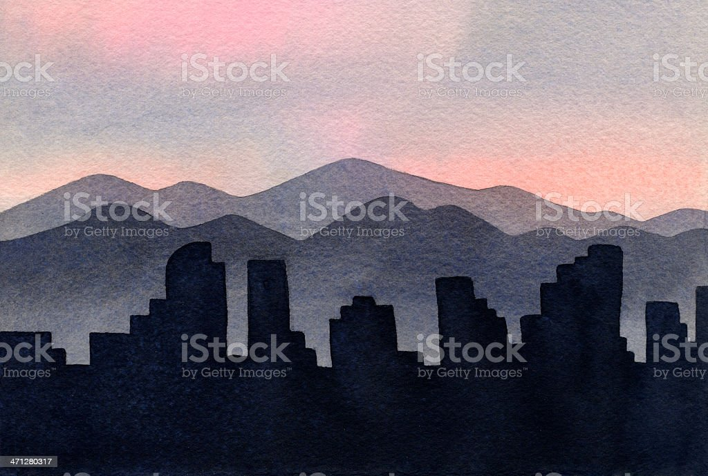 Illustration of cities and mountains on the Denver skyline vector art illustration