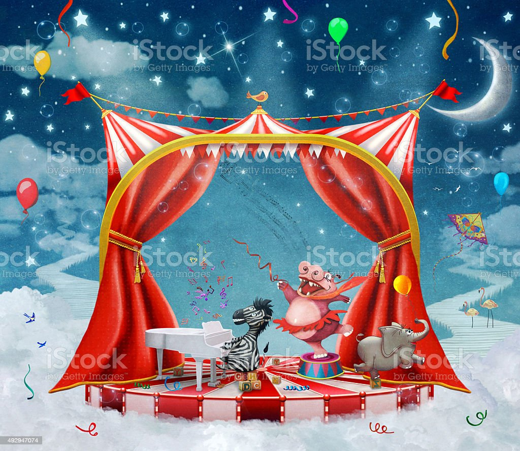 Illustration of cute circus  animals on stage in sky vector art illustration