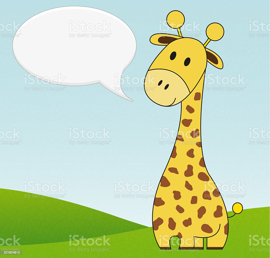 Illustration of cute giraffe with speech bubble stock photo