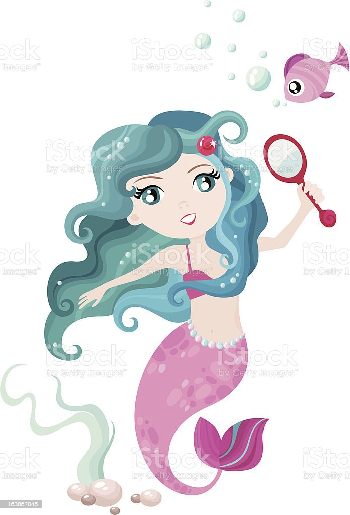 Illustration of cute mermaid with fish royalty-free stock vector art