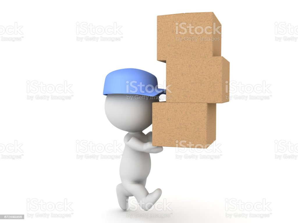 3D illustration of delivery man running and carrying many packages stock photo